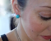 Turquoise LaFemme Globe Stud Earrings, Handmade with Sterling Silver posts, Birthstone jewelry