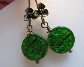 Green Earrings, Shimmering Emerald Green and Antique Bronze Earrings, Christmas Earrings