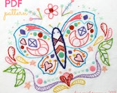 Butterfly Summer Doodle Hand Embroidery PDF Pattern