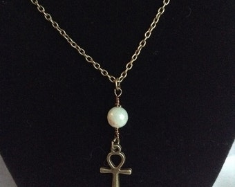 Amazonite and Ankh Necklace