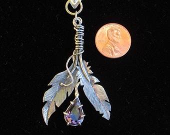 Sterling Silver  Lavender Amethyst  Brutalist Feather Pendant