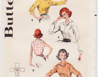 Vintage Pattern Butterick 8097 Classic Shirt 50s Size 14 B34