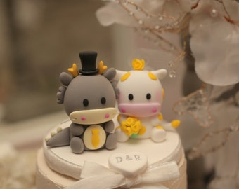 Dragon and  Cow wedding cake topper,Chinese Zodiac wedding cake topper---k706