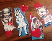 Cute Vintage Valentines, Set of 4 Charming Vintage Puppy Valentine, Wolf, Lion, Girl, Hearts Paper Vintage Love Notes Vintage Valentines Day