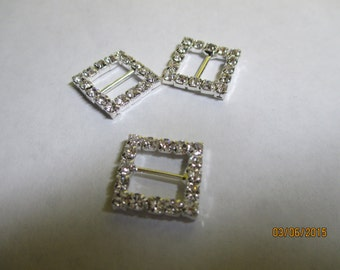 Rhinestone Buckle  15mm  Square   3 buckles  RS113