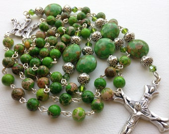 Handmade Catholic Rosary with Bright Green Mosaic Turquoise Beads, Custom Rosaries, One of a Kind Rosaries, Gemstone Rosary