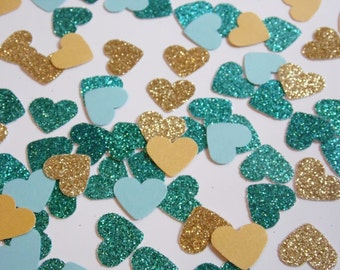 Gold and Teal Glitter Heart Confetti, Wedding Reception Decoration, Table Scatter, Paper Confetti, Bridal Shower Decor