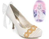 PRINCESS SERENITY | Sailor Moon | Bishōjo Senshi | Crescent Moon | Shoe Design for Heels with Crystal Rhinestones, Glitter, Pearls, & Bows