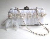 white bridal clutch, evening bag, bridal clutch, spring wedding, bridal purse, Gatsby, flapper, winter wedding, prom purse, June wedding