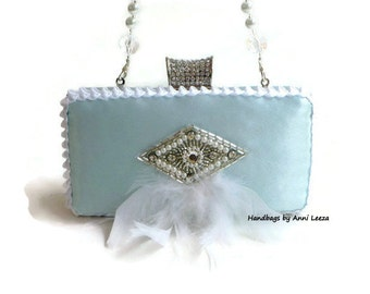 mint satin bridal clutch, evening bag, clutch purse, spring wedding, bridal bag, maid of honor, Gatsby, flapper, mother of bride, prom