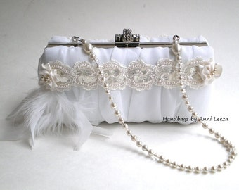 white bridal clutch, evening bag, bridal clutch, chiffon bridal purse, pearl necklace strap, Gatsby, flapper, prom clutch, garden party