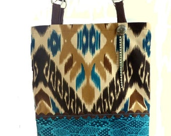 boho chic handbag,  tribal bag, western chic handbag, tote bag, laptop tote, book tote, Aztec bag, southwestern bag, hippie bag, book bag