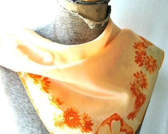 Luxurious vintage 60s peach color  acetate  scarf with abstract flowers print. Made by Vera
