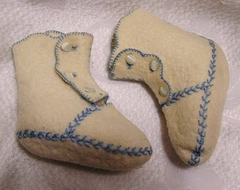 Vintage Embroidered Cream and Blue Side Button Baby Shoes Booties. Beautiful and Sweet for a Little Boy