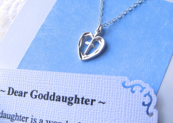 Gift For Goddaughter Birthstone Necklace Sterling By: GODDAUGHTER Necklace With POEM CARD Heart Cross Jewelry Gift