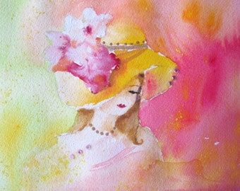 Original Watercolor Painting With Crystals * FLOWERED HAT * Ladies With Hats Series * Small Art Format