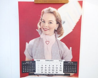 Vintage Victor Keppler Photography Calendar Poster..Timken Ball Bearings Calendar Poster..Feb. 1958..Vintage Advertising Calendar