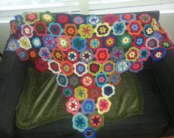 Boho Chic Crochet Granny Flower Shawl Throw