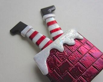 Santa down the chimney pin brooch