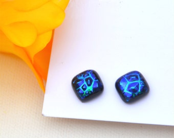 45 Fused dichroic glass earrings, blue, bumpy, square