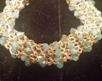 Beaded Bangle Aqua Crystals Gold Metallic Floss Gift for Her by hipknitta