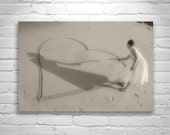 Romantic Beach Art, Heart, Love, Black and White, Valentine, Fine Art Photography