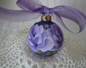 Purple Glass Ball Ornament Hand Painted Lilac Lavender Roses Gold Glitter