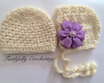 Newborn twin hats.. Boy girl twins... Photography prop.. Ready to ship