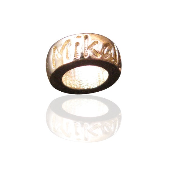 Name bead in 9ct Gold engraved with the names and dates of your choice