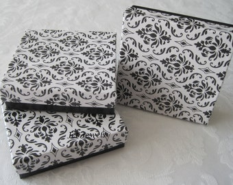 20 Gift Boxes, Jewelry Boxes, Wedding Favor Boxes, Bridesmaid Gift Box, Damask Print, Black Damask, Black and White, Cotton Filled