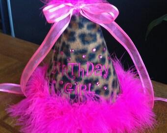 Ready to Ship Girls Birthday Party Hat Hot Pink Boa Rhinestones Leopard Girls Toddler Birthday Girl