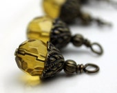 Bead Dangle Yellow Round Crystal Brass Vintage Style Earring Dangle Necklace Charm Set
