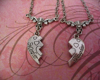 Mothers Heart  Necklaces for Mother and Daughter Jewelry Gift