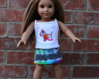 18 Inch Doll Tie Dye Shirt and Skirt Set with a Tie Dye Dog and Reversible Skirt