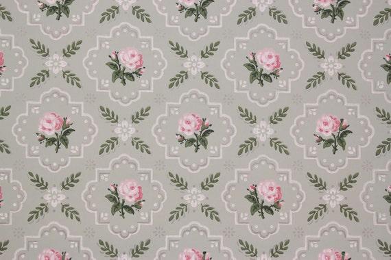 1940 vintage tapete rosa rosen auf licht blau geometrische. Black Bedroom Furniture Sets. Home Design Ideas