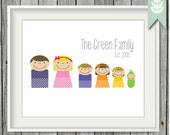 8 x 10 Printable Family Art Print - Custom PDF, Printable, Family Print, Personalized Family Print