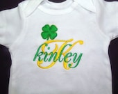 Baby Girl and Boy Clothing Bodysuit Personalized Embroidered Monogram Shamrock St. Patrick's Day Irish Outfit Sizes Newborn to 18-Months