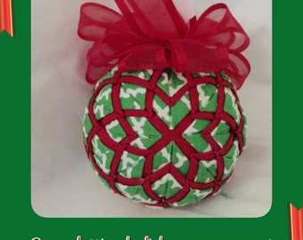 Green lattice kalidecope holiday christmas fabric ornament - LAST ONE
