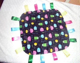 Baby  Pacman Tag Blanket, Handmade, Sensory Blanket,  Teething,, Lovey, Ribbons,, Minky, Toy, Shower Gift