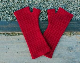 Merino wool fingerless gloves - red bubble knit fingerless armwarmers, fine textured gloves, red gloves