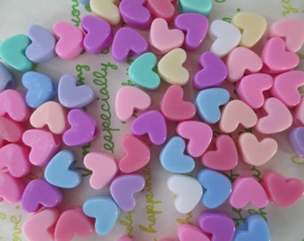 Pastel Colorful Heart pony beads 40pcs 11mm x 10mm Mix New item