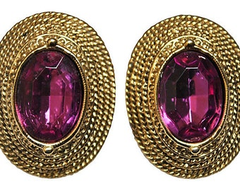 Purple Glass & Twisted Gold Earrings