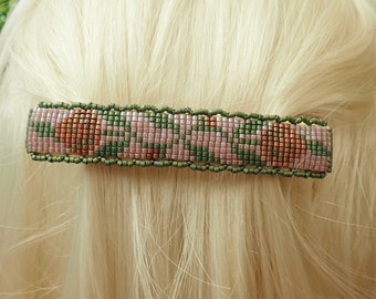 Lg Lavender, green and copper 2 Flower FTH Hand beaded seed bead barrette