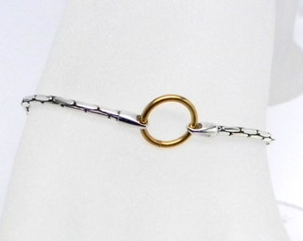 14kt White Gold Upcycled Vintage Chain Slave Bracelet with Yellow Gold Accents and Gold Plated Captive Segment Ring Locking Clasp