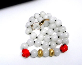 Vintage White Jade Gold Vermeill Carved Coral 14kt gold fill Hand Knotted Silk Strand Necklace
