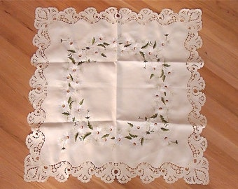 Vintage Embroidered Square Table Runner