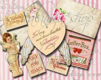 HUGS and KISSES Collage Digital Images -printable download file-