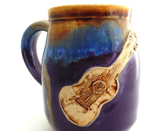Handmade Pottery Mug Guitar Purple Brown Castille Pottery and Ceramics by Jewel Pottery