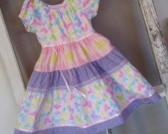 Dress- -Peasant Style -Size 7-Butterflies in Lavender and Pink