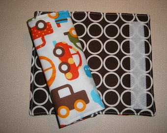 Car Seat Strap Covers . Reversible . Cars and Trucks